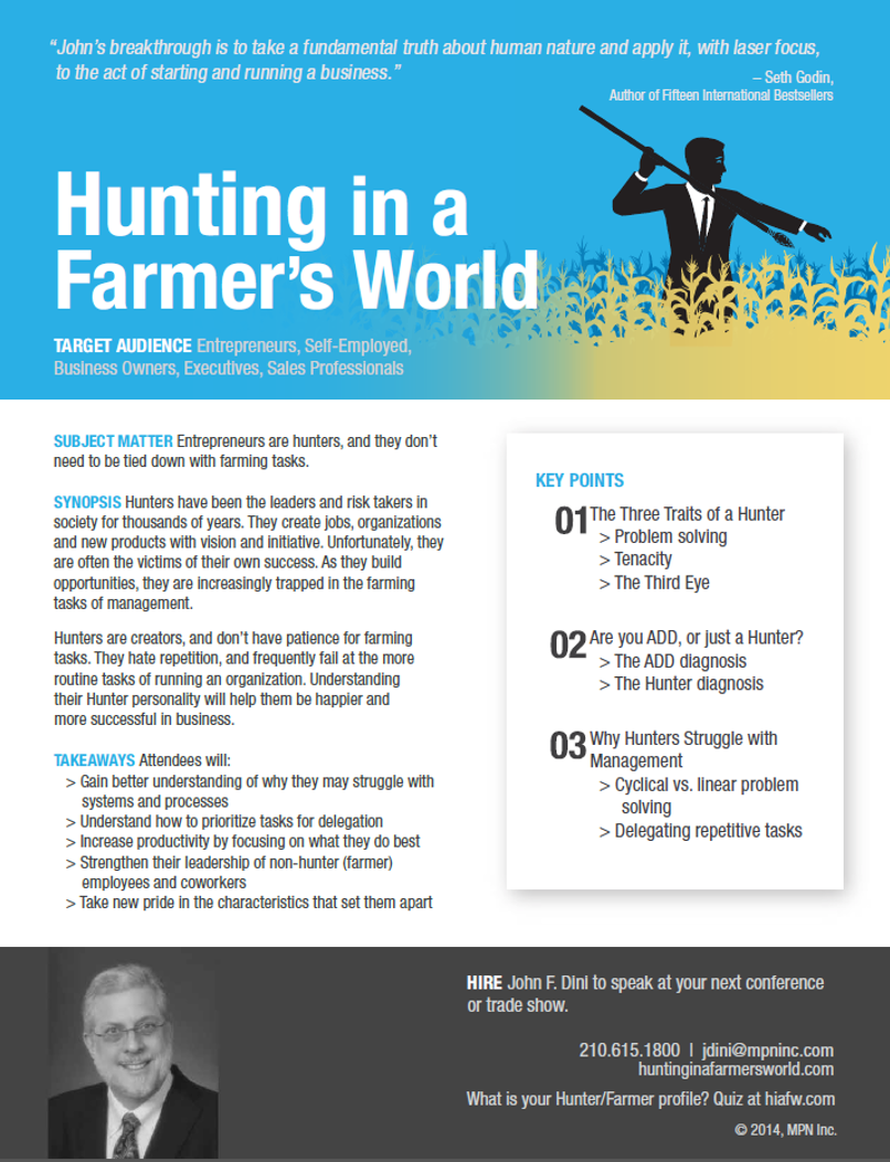 John F. Din Presentations Hunting Flyer